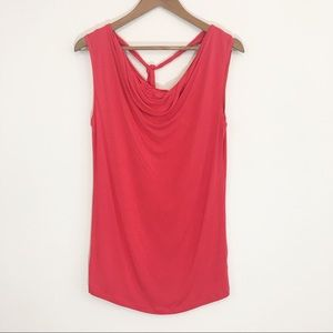 NWOT CAbi Red Draped Neck Top